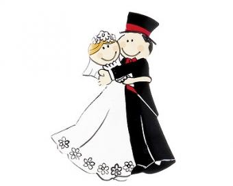 Mila Hochzeit Magnet Just Married - Metallmagnet Brautpaar