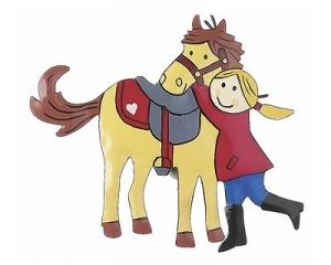Mila Magnet Mein Pony - Pferdeglück Metallmagnet - Mädchen mit Pferd