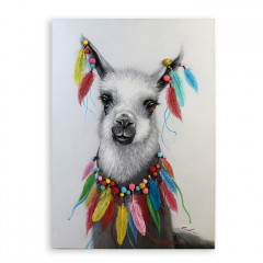 Ölbild Lama - Leinwand 70x100 cm weiß / grau mit bunten Pompoms und Federn - handgemalt - Ölgemälde