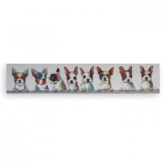 Ölbild Dogs - Leinwand 150x30cm bunt / weiß - handgemalt - Ölgemälde