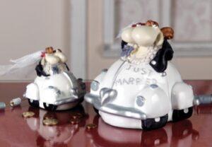 Hochzeit Spardose Just Married - Brautpaar im Cabrio Hochzeitsauto - Schafe Polly + Paul