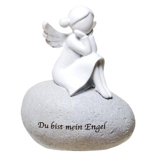 Schutzengel auf Stein mit Zitat: Du bis mein Engel - Poly Engel ohne Gesicht
