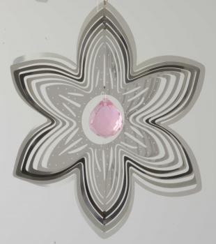 Edelstahlspirale Blüte mit Kristallkugel - Edelstahlmobile Blume u. Kugel .