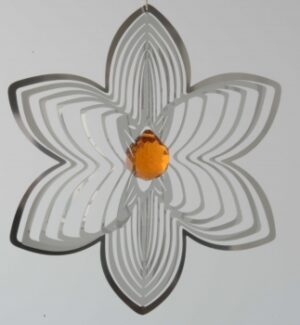 Edelstahlspirale Blüte mit Kristallkugel - Edelstahlmobile Blume u. Kugel 15202.jpg