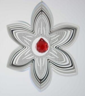 Edelstahlspirale Blüte mit Kristallkugel - Edelstahlmobile Blume u. Kugel in verschiedenen Farben