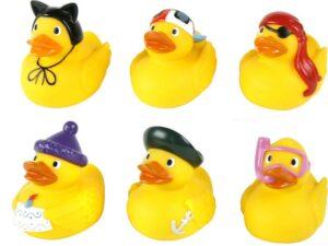 Badequietscheentchen Badeente Schnorchler, Pirat, Matrose, mit Geburstagstorte, Mütze, Baseballkappe