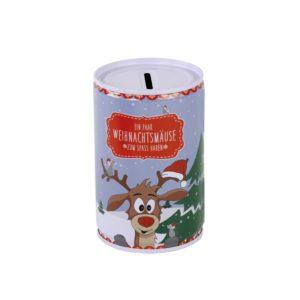 Weihnachtsspardose Elch - Spardose Weihnachtsmäuse - Rentier mit Weihnachtsmütze als Sparbüchse