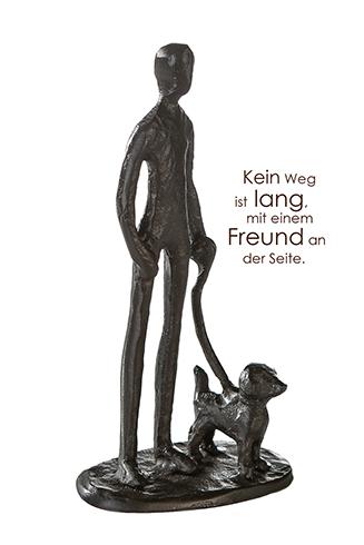 Mann mit Hund Skulptur Herrchen mit Hund Skulptur