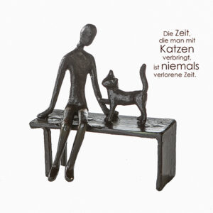 Frau mit Katze Skulptur Zuwendung aus Eisen, brüniert -Dekofigur Katzenliebhaber auf Bank