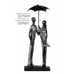 Skulptur UMBRELLA - Liebespaar unterm Schirm, antik-silber mit Zitatanhänger