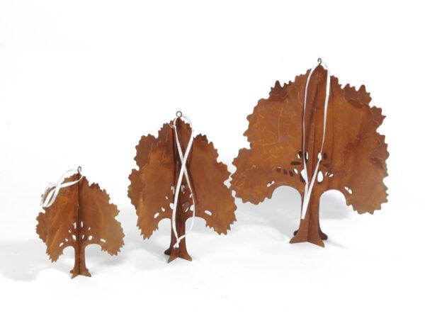 Edelrost Baum zum Hängen - Metallbäume im 3er Set - Eisen Gartendekoration