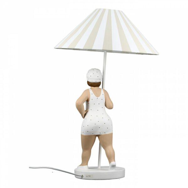 Lampe Becky - Stehleuchte Nostalgie Badefigur - Stehlampe Molly - Diche Dame mit Lampenschirm