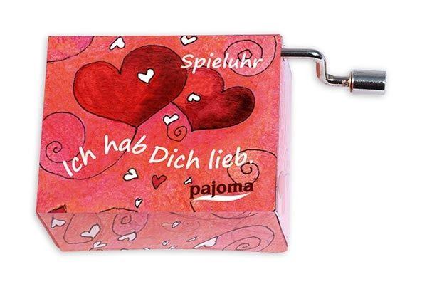 kleine Drehorgel - Herzen Spieluhr mit Liebesbotschaften Ich hab Dich lieb18960