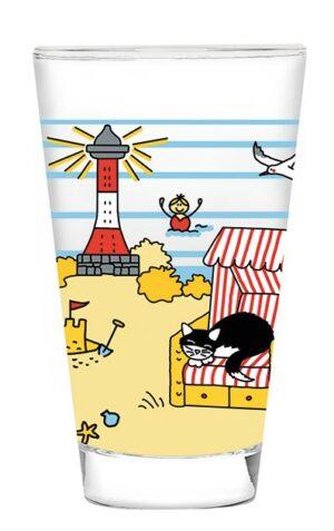 """Mila Strandidylle """"Nichts tun und dann schonen"""" Glas, groß - Trinkglas 250 ml Strandmotiv mit Katze """"Happy Cat"""""""