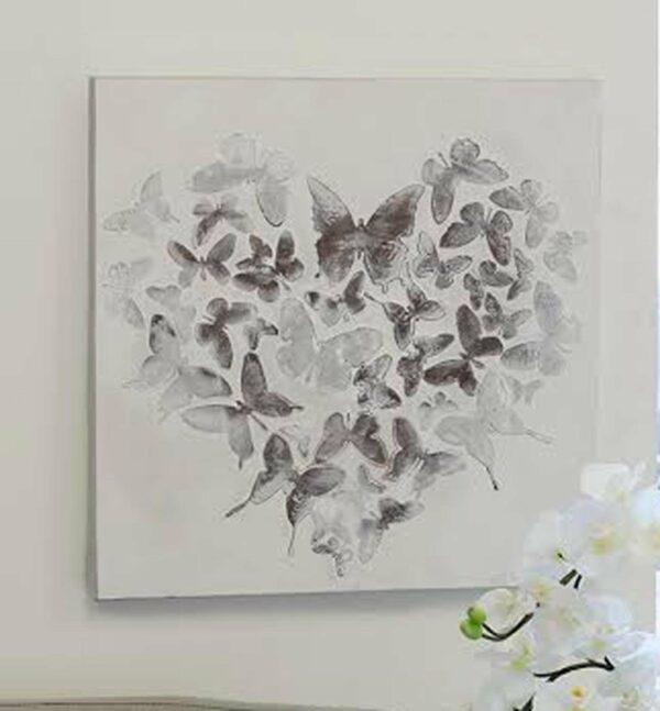Herzformation Schmetterlinge Ölbild Butterfly - Herz aus Schmetterlingen - Ölgemälde 60 x 60 cm