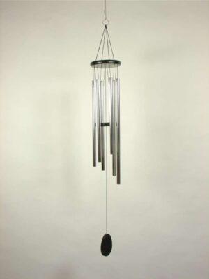 Klangspiel mit 6 Klangröhren - schwarz-silber - Länge 82 cm