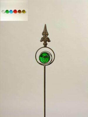 Gartenstecker Lilie mit Glaskugel - Stab mit farblicher Blubberglaskugel als Beetstecker