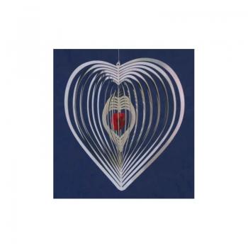 Edelstahl Spirale Herz mit Kristallherz in rot - Mobile