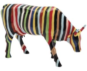 Striped Cowparade - bunte Sammlerkuh - Kunstkuh mit Streifen - bunte Zebrakuh