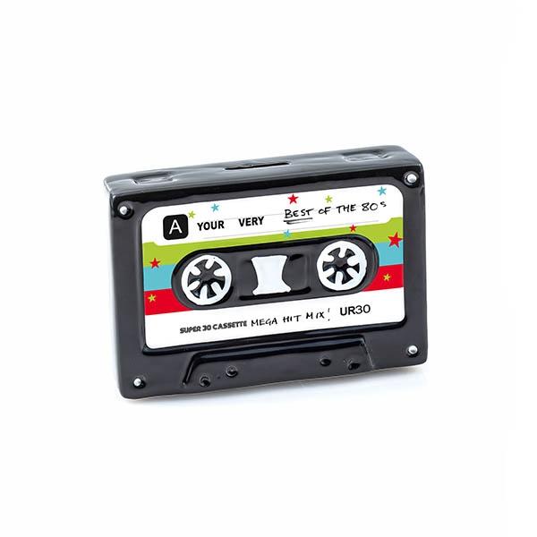 Nostalgie Keramik Spardose Kassette - Deko Retro Gelddose Cassette Sparbüchse