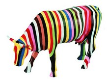 CowParade small Striped - Kuh mit bunten Streifen - Cary Smith