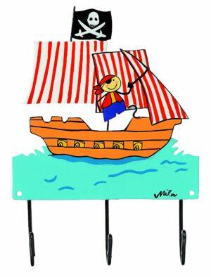 Mila Südseepirat - Mila 3er Haken - Piratenschiff Garderobe - Wandhaken 2044