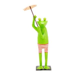 XXL Frosch mit Schirm - Metallfrosch Gartenskulptur 153cm