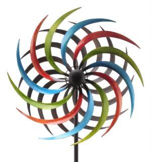 gegenläufiges Windrad Regenbogen - ArtFerro Metalldesign - doppeltes Metallwindrad