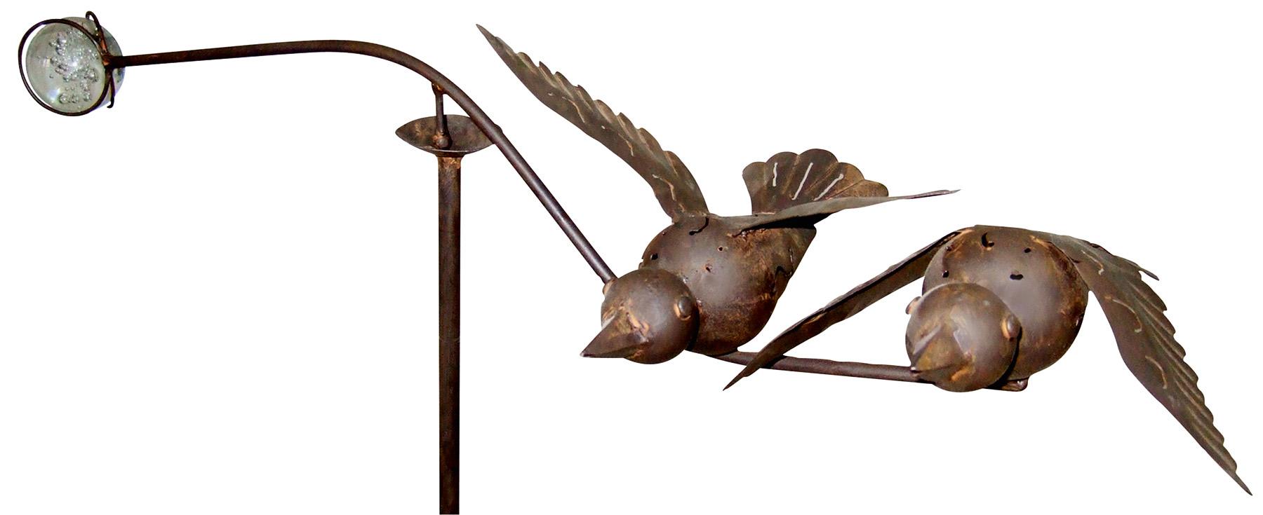 windspiel vogelpaar metall garten balancer mit glaskugel. Black Bedroom Furniture Sets. Home Design Ideas