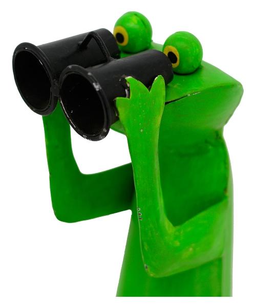 XXL Frosch mit Fernglas - Metallfrosch Bademeister - Spanner - Zaungucker 52-130 cm