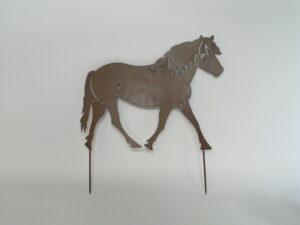 Pferd Beetstecker - Gartenstecker Pferd - Beeteinfassung Pony aus Metall