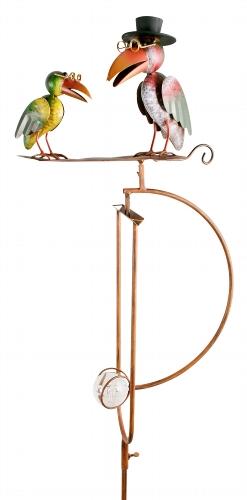 Raben Windspiel Wippe - Gartenpendel mit 2 Raben auf einem Blatt - Vater und Sohn