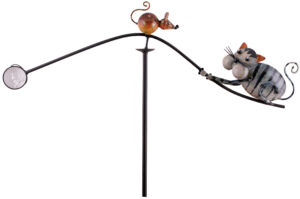 "Windspiel Katze + Maus ""Tom + Jerry"" - Metall Balancer Windspiel mit Glaskugel"