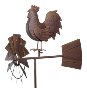 Windspiel Windrad Hahn Vogel ArtFerro Metall Gartendeko Deko Tiere Metall Stab mit Windrichtungsanzeiger 360 ° drehend