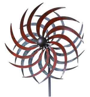 Duo Sichelrad Metall Windrad 360 ° drehend - ArtFerro Doppelwindrad