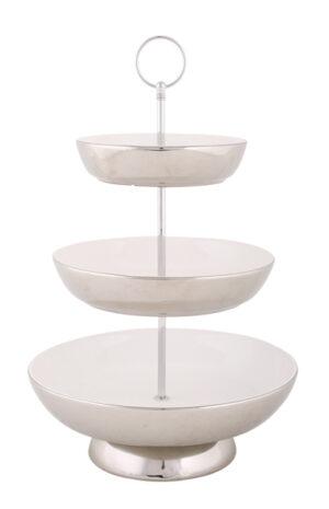 schlichte Keramik Etagere, weiß-metallic, Küchen-Etagere 3-stufig