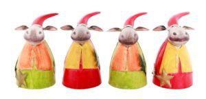 Weihnachtselch Zaunhocker Elch Pfostenhocker Zaungast Rentier mit Roter Mütze