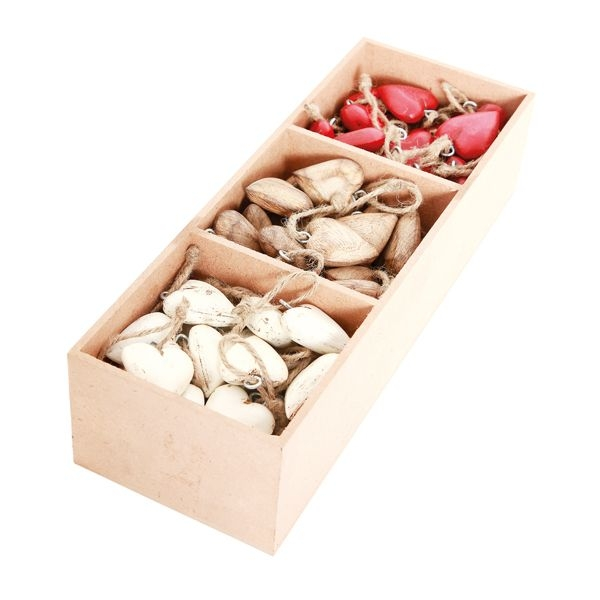 90 tlg. Box mit Holz Herz Hängern - Holz Herzen mit Kordel - Geschenkanhänger