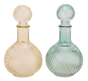 Glasflasche amber/grün, 8x8x17 cm - Flakon,Karaffe,Likörflascheaus Glas
