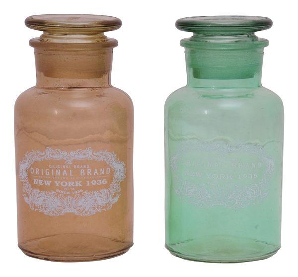 Glas Flasche New York 1936 - Glasbonboniere Bonbonglas amber/grün, 6x6x11 cm - Vorratsgefäß Gebäckdose Keksdose Vintage Shabby Glasflasche