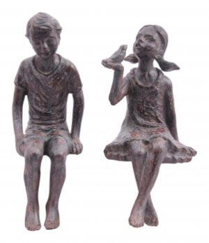 Kantenhocker Kinder Skulptur Hilda - Kinderfigur Mädchen und Junge
