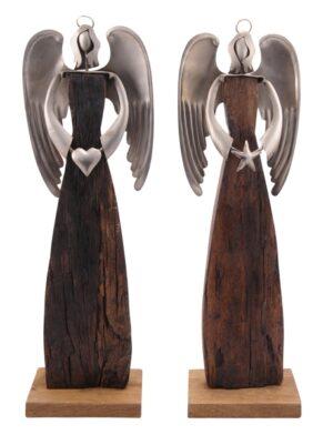 XXL Holz Engel Puri Schutzengel Skulptur Holz/Metall 55-64cm Industrial Dekofigur