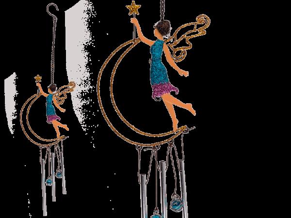 Metallklangspiel Elfe - Klangspiel Engel im Mond, mit Glitter und Sternenstab