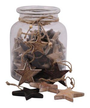 Holz Stern zum hängen Fünfzackiger Sternhänger - Dekoration für Innen und Außen