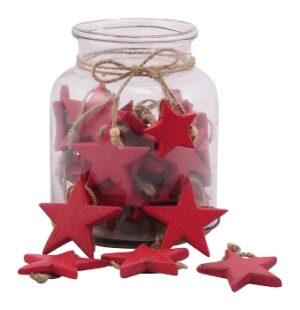 Holz Stern rot zum hängen Fünfzackiger Sternhänger - Dekoration für Innen und Außen 220337