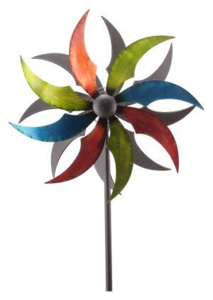 großes gegenläufiges Windrad Blume, bunt - ArtFerro Metalldesign Doppelwindrad kugelgelagert