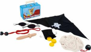 Piratenausrüstung im Metallkoffer - Kinder Verkleidung - Kostüm Pirat mit Säbel/Dolch