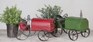 Blumentopfhalter Trecker - Traktor in grün - Pflanztopf aus Metall