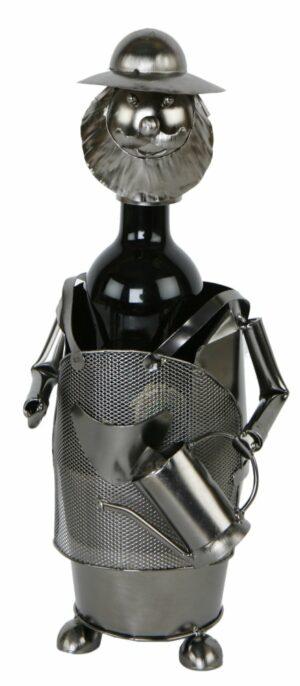 Flaschenhalter Gärtner Skulptur Weinflaschenhalter aus Metall 544724