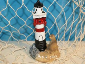 Leuchtturm Roter Sand mit Seehund - maritime Dekoration, Polyresin